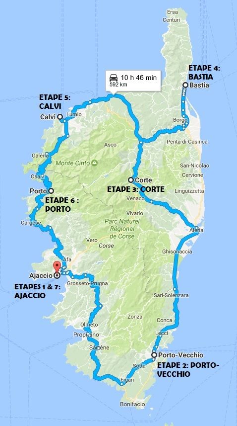 Itineraire Tour De Corse 10 Jours